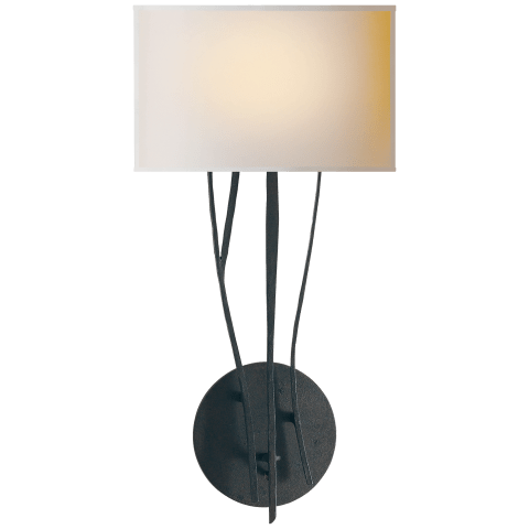 Aspen Sconce in Black Rust with Natural Paper Shade