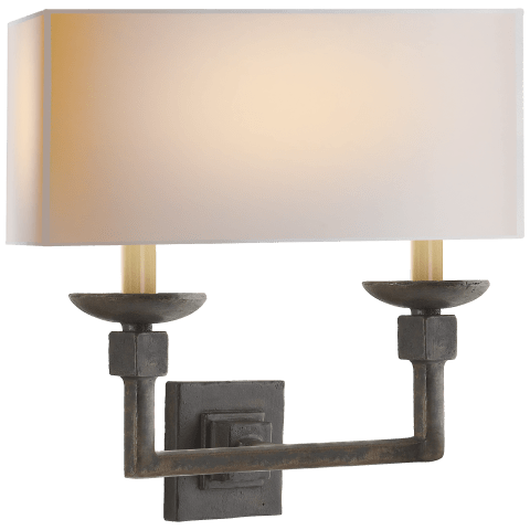 Kassel Double Sconce in Natural Iron with Natural Paper Shade