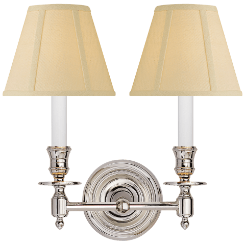 French Double Sconce in Polished Nickel with Tissue Shades