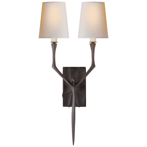 Bristol Small Sconce in Aged Iron with Natural Paper Shades