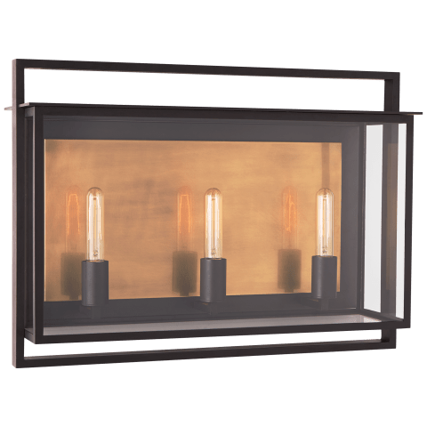 Halle Medium Wide Wall Lantern in Aged Iron with Clear Glass