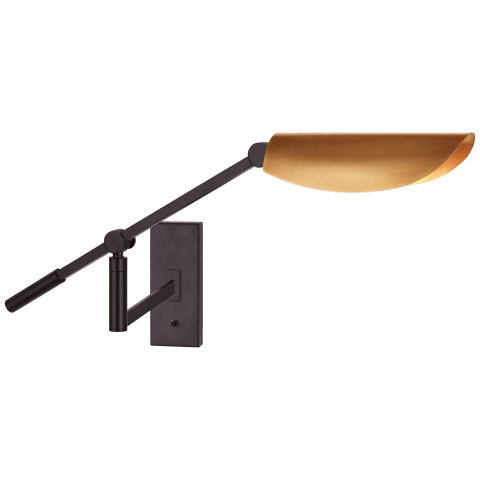 Lola Boom Arm Wall Light in Aged Iron with Hand-Rubbed Antique Brass Shade