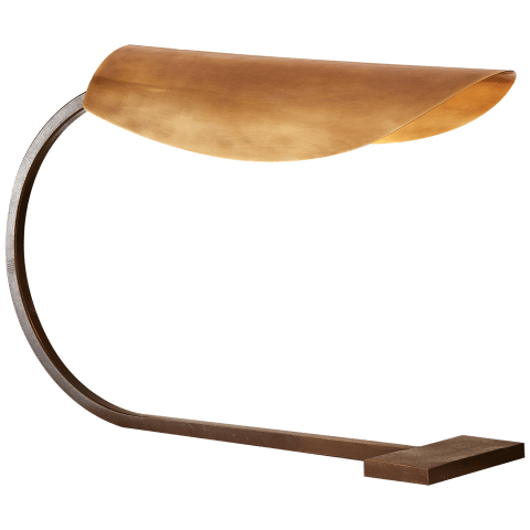 Lola Small Desk Lamp in Aged Iron with Hand-Rubbed Antique Brass Shade