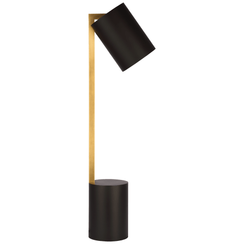 Anthony Pivoting Desk Lamp in Matte Black and Hand-Rubbed Antique Brass