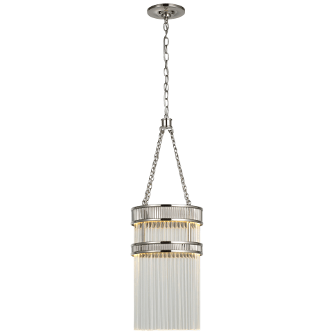 Menil Tall Chandelier in Polished Nickel with Crystal Rods