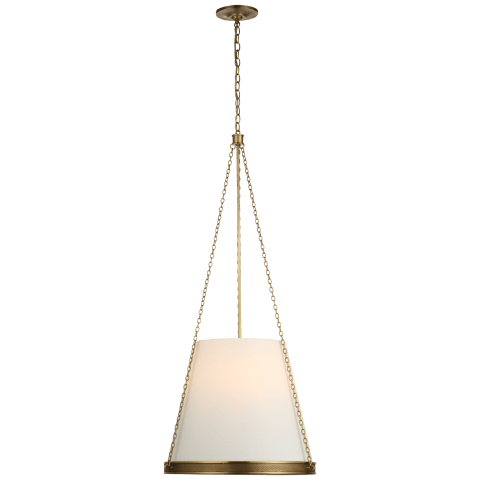 "Reese 18"" Pendant in Soft Brass with Linen Shade"
