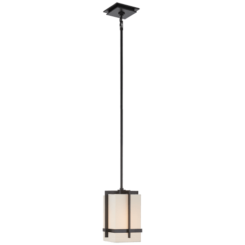 Milo Small Pendant in Aged Iron with Linen Shade