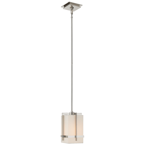 Milo Small Pendant in Polished Nickel with Linen Shade