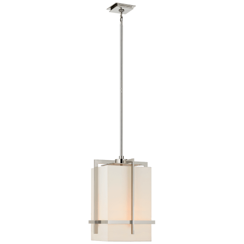 Milo Medium Pendant in Polished Nickel with Linen Shade
