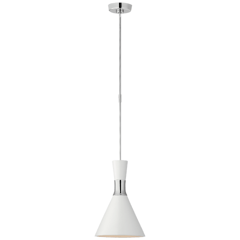 Liam Small Conical Pendant in Polished Nickel with Matte White Shade