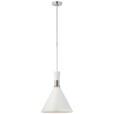 Liam Medium Conical Pendant in Polished Nickel with Matte White Shade