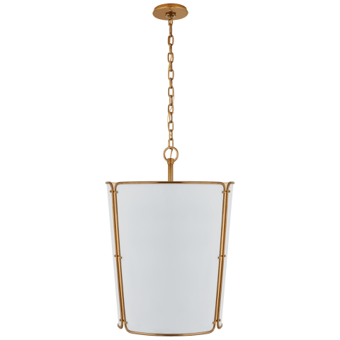 Hastings Large Pendant in Hand-Rubbed Antique Brass with White Shade