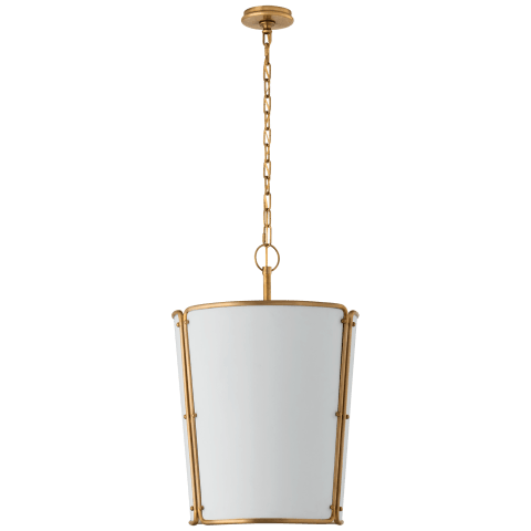 Hastings Medium Pendant in Hand-Rubbed Antique Brass with White Shade