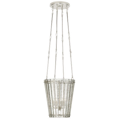 Cadence Small Tall Chandelier in Polished Nickel with Antique Mirror