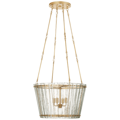 Cadence Medium Chandelier in Hand-Rubbed Antique Brass with Antique Mirror