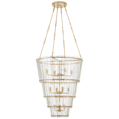 Cadence Large Waterfall Chandelier in Hand-Rubbed Antique Brass with Antique Mirror
