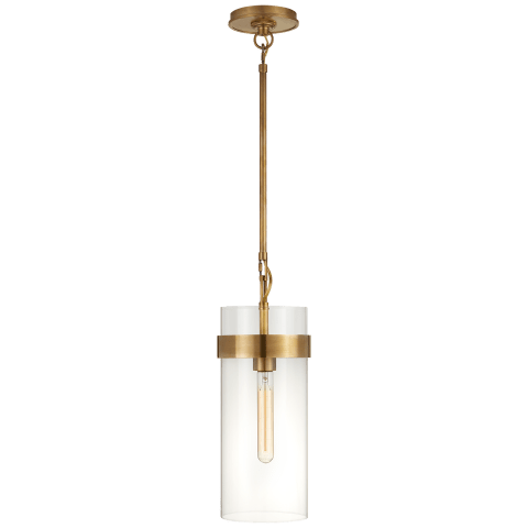 Presidio Small Pendant in Hand-Rubbed Antique Brass with Clear Glass