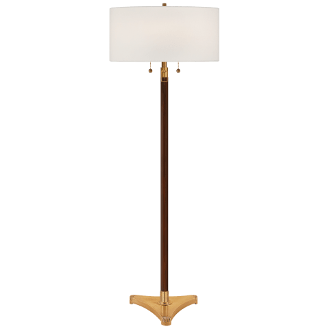 Paris Floor Lamp in Ebony and Hand-Rubbed Antique Brass Accent with Linen Shade