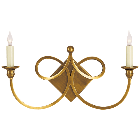 Double Twist Two-Light Sconce in Hand-Rubbed Antique Brass