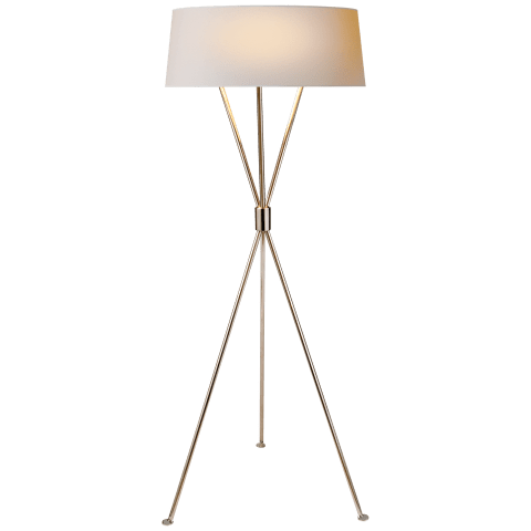 Thornton Floor Lamp in Polished Nickel with Natural Paper Shade