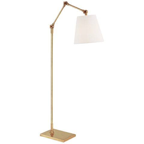 Graves Articulating Floor Lamp in Hand-Rubbed Antique Brass with Linen Shade