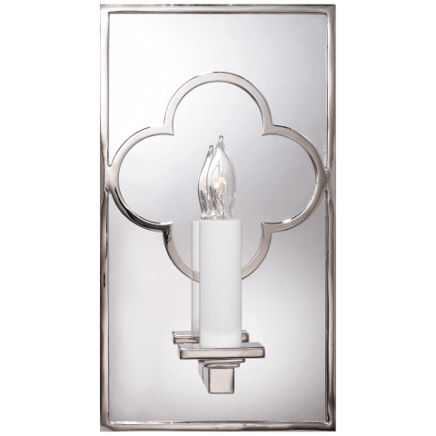 Quatrefoil Rectangle Mirrored Sconce in Polished Nickel
