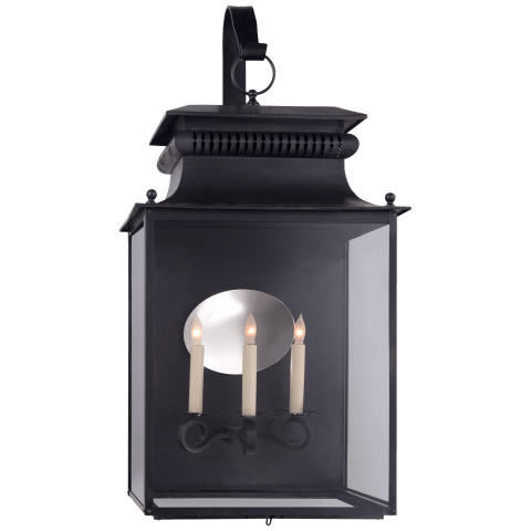 Honore Large Bracketed Wall Lantern in Blackened Copper