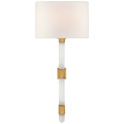 Adaline Medium Tail Sconce in Antique-Burnished Brass and Quartz with Linen Shade