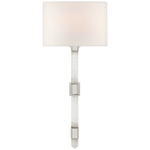 Adaline Medium Tail Sconce in Polished Nickel and Quartz with Linen Shade