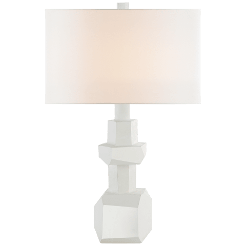 Vienne Medium Table Lamp in Plaster White with Linen Shade