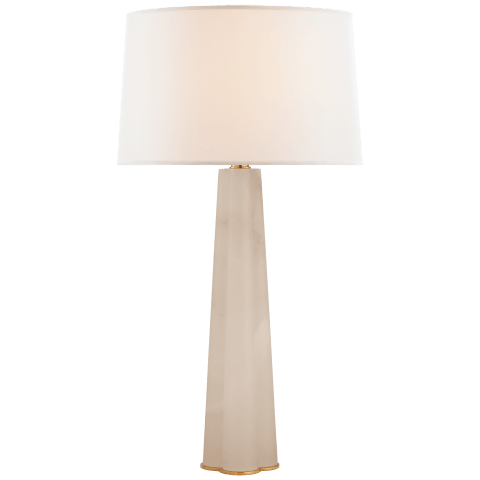 Adeline Large Quatrefoil Table Lamp in Alabaster with Linen Shade