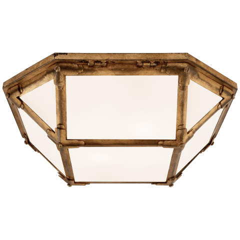Morris Flush Mount in Gilded Iron with White Glass