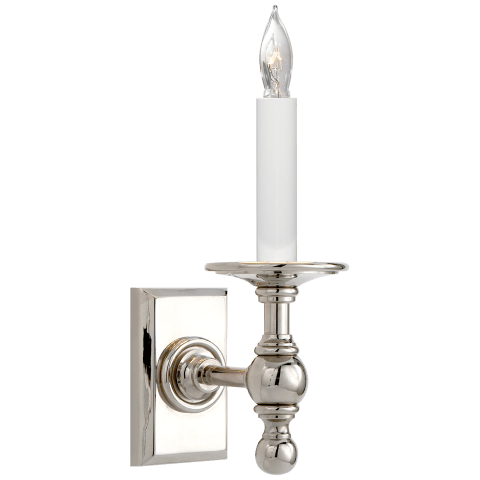 Single Library Classic Sconce in Polished Nickel