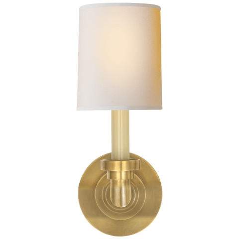 Wilton Single Sconce in Hand-Rubbed Antique Brass with Natural Paper Shade
