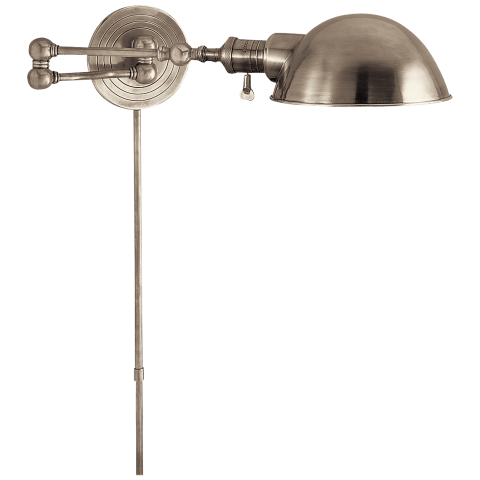 Boston Swing Arm in Antique Nickel with SLG Shade