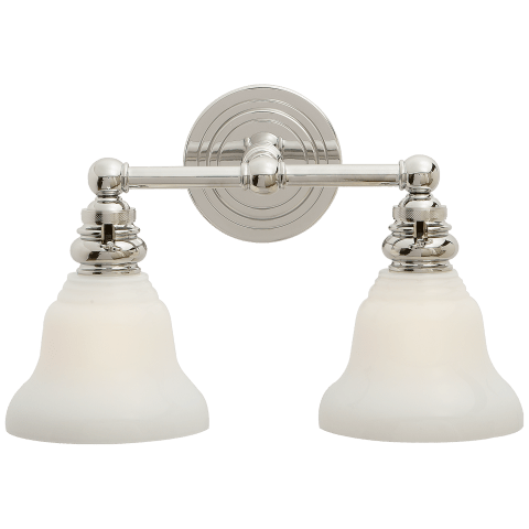 Boston Functional Double Light in Polished Nickel with White Glass
