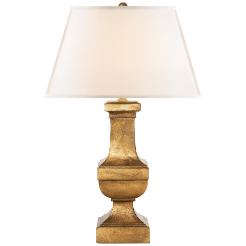 Square Balustrade Table Lamp in Gilded Iron with Linen Shade