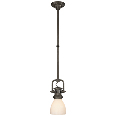 Yoke Mini Pendant in Polished Nickel with White Glass Shade