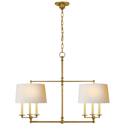 Classic Billiard Light in Hand-Rubbed Antique Brass with Natural Paper Shades