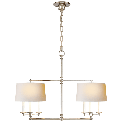 Classic Billiard Light in Polished Nickel with Natural Paper Shades