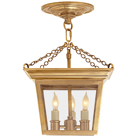 Cornice Semi-Flush Lantern in Hand-Rubbed Antique Brass