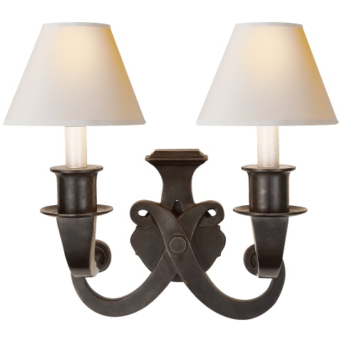 Savoy Sconce in Bronze with Natural Paper Shades