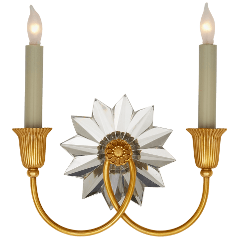Huntingdon Double Sconce in Hand-Rubbed Antique Brass and Crystal