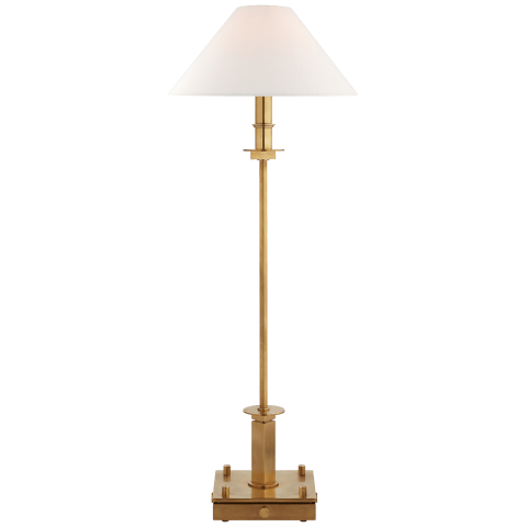 Christopher Buffet Lamp in Hand-Rubbed Antique Brass with Linen Shade