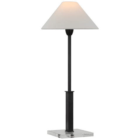Asher Table Lamp in Bronze and Crystal with Linen Shade