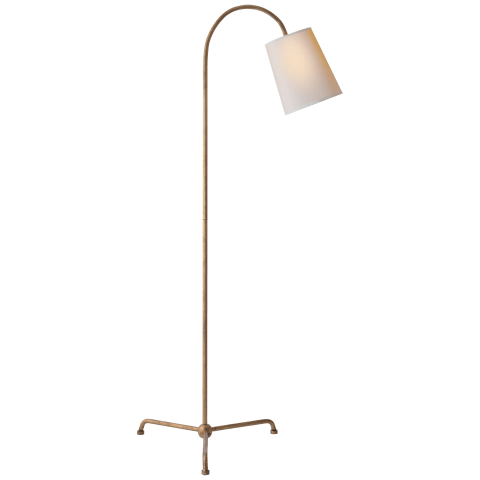 Mia Floor Lamp in Gilded Iron with Natural Paper Shade