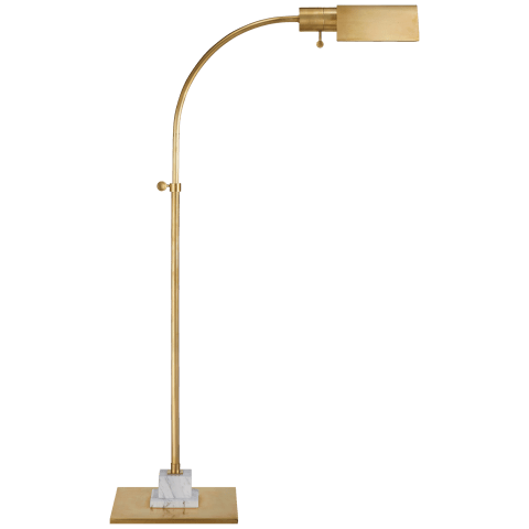 Eton Small Pharmacy Floor Lamp in Hand-Rubbed Antique Brass and White Marble