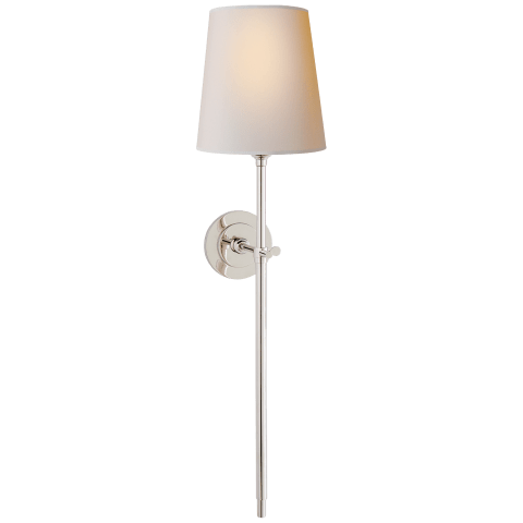 Bryant Large Tail Sconce in Polished Nickel with Natural Paper Shade