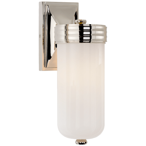 Dara Single Sconce in Polished Nickel with White Glass
