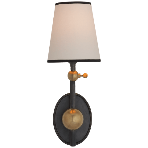 Alton Pivoting Sconce in Bronze and Hand-Rubbed Antique Brass with Natural Paper Shade with Black Tape